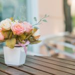 bouquet rose on the table